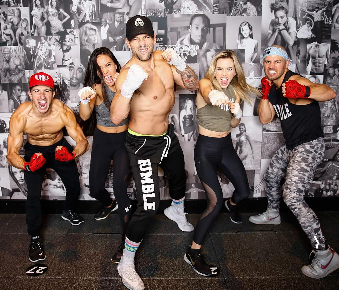 A group of athletes in a Rumble studio