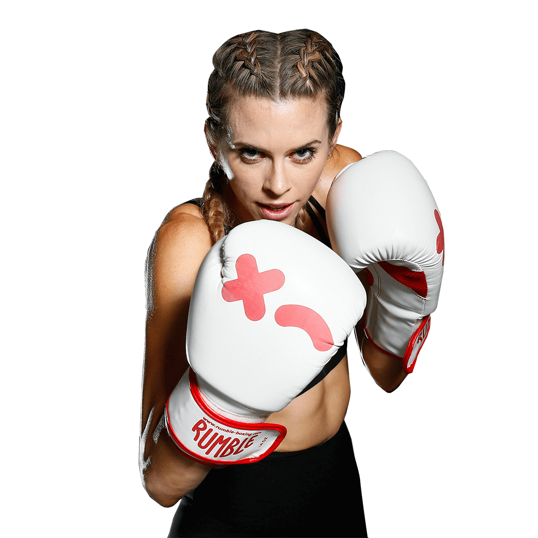 Woman in a boxing pose