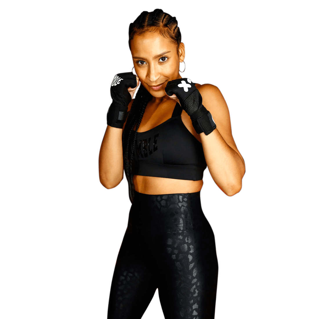 Woman in a defensive boxing stance